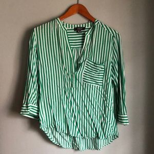 Primark casual green & white stripped blouse.